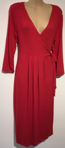 MINNIE'S BOUTIQUE MATERNITY RED WRAP JERSEY DRESS BNWT SIZE L 14-16